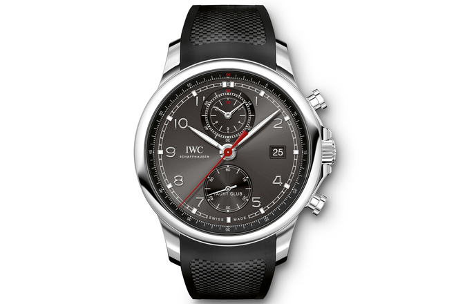 Replica IWC Portuguese Yacht Club Chronograph Black Dial Steel Watch