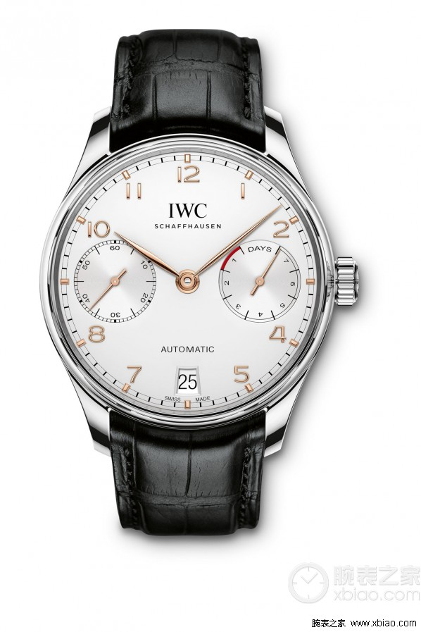 Replica IWC Portuguese Power Reserve White Dial Black Leather Steel Watch