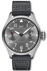 Replica IWC Big Pilot Black Dial Steel Case Black Leather Watch