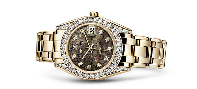 Precious Yellow Gold Rolex Pearlmaster Fake Watches With Diamond Decoration