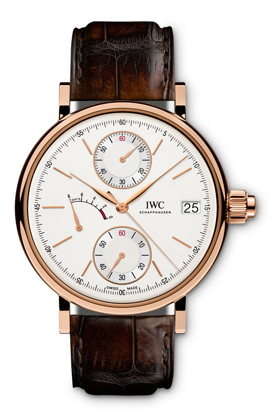 UNDADIERTES HANDOUT - The Portofino Hand-Wound Monopusher (Ref. IW515104) from IWC Schaffhausen features a case in 18-carat red gold, silver-plated dial and dark brown alligator leather strap by Santoni with a pin buckle in 18-carat red gold and a sophisticated single push-button chronograph mechanism. (PHOTOPRESS/IWC)