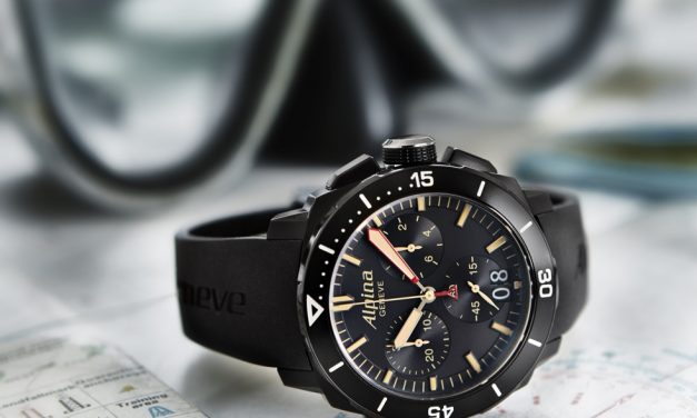 Black Alpina Seastrong Diver 300 Chronograph Big Date Replica Watch
