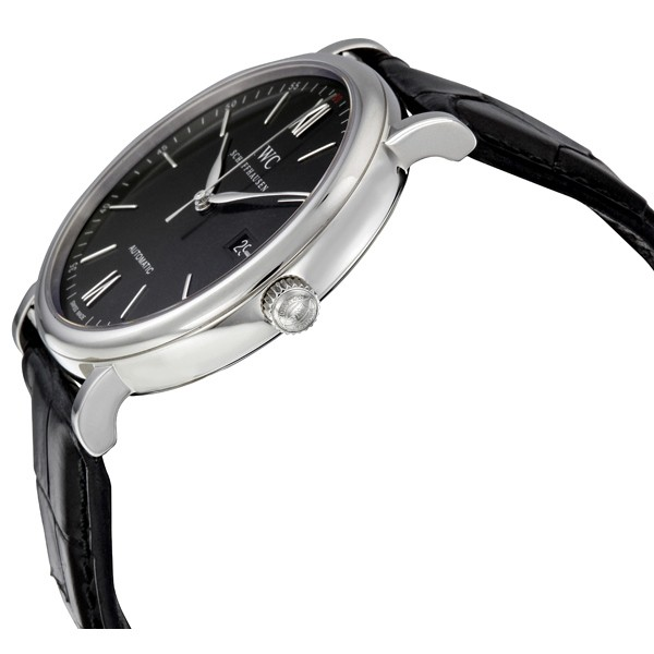 IWC Portofino Automatic Black Dial Black Leather Men's Watch 3565-02