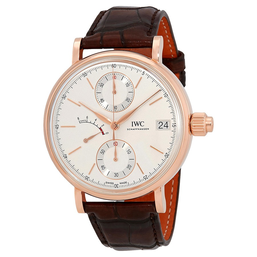 IWC Portofino Monopusher Silver-Plated Dial Chronograph 18K Rose Gold Men's Watch IW515104