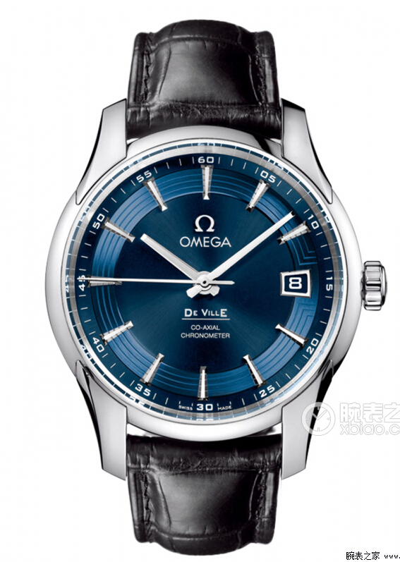 Replica omega deville hour vision blue dial black leather steel watch