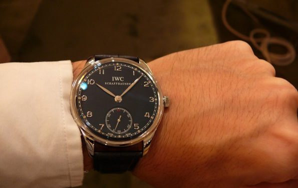 Stainless Steel Black Dial IWC Portuguese Remontage Manuel Replica Watch